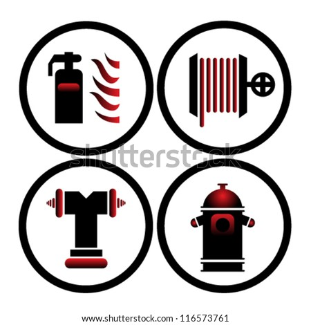 Fire Extinguisher Symbols Vector Illustration Stock Vector 116573761