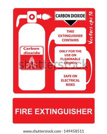 Fire extinguishers appropriate to the situation and the color code - stock vector