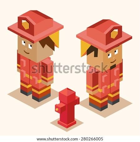 fire fighter heroes. vector illustration - stock vector
