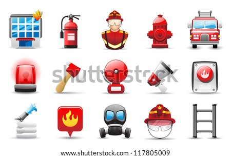 Fire Fighter Icons - stock vector