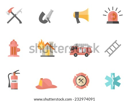 Fire fighter icons in flat colors style. - stock vector
