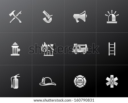 Fire fighter icons in metallic style - stock vector