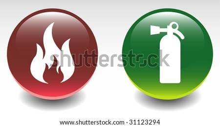 Fire & Fire Extinguisher Sign Icons - stock vector