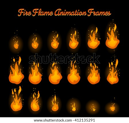 Fire Flame Animation Frames Fire Trap Stock Vector 412135291 ...