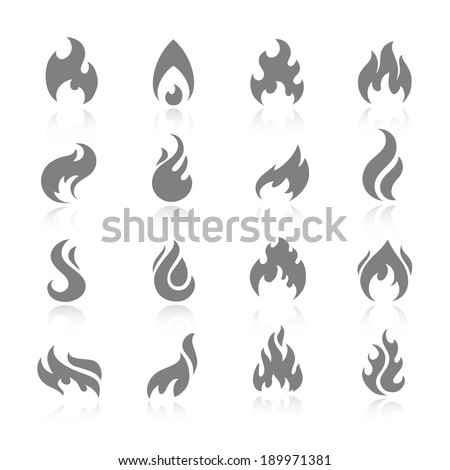 Fire flame burn flare torch shadow icons set isolated vector illustration - stock vector