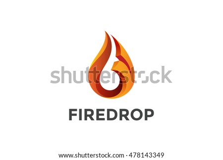 Fire Flame droplet shape Logo design vector template. 3D drop abstract Logotype concept icon.