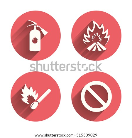 Fire flame icons. Fire extinguisher sign. Prohibition stop symbol. Burning matchstick. Pink circles flat buttons with shadow. Vector - stock vector