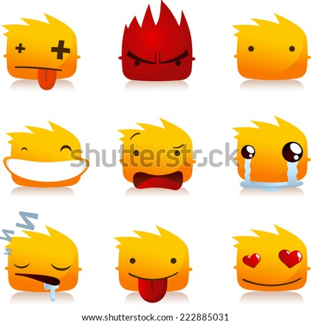 Fire Flame Smileys with Head People Avatar Profile collection Set, vector illustration - stock vector