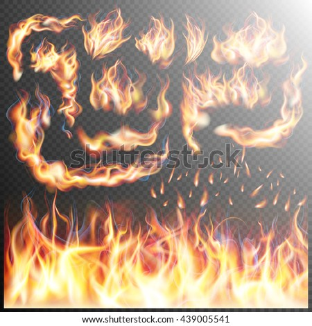 Fire flame strokes realistic isolated on transparent background. EPS 10 vector file included - stock vector