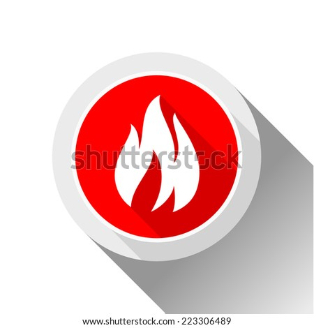 Fire flames, button with shadow in circle shape