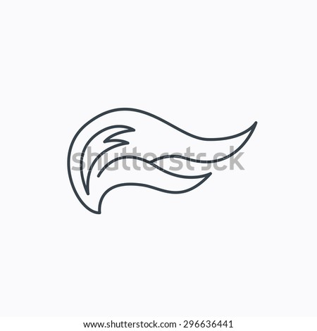 Fire flames icon. Blazing bonfire sign. Linear outline icon on white background. Vector - stock vector