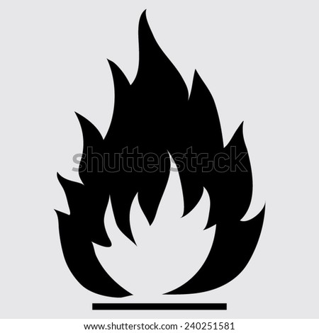 Fire flames icon, vector illustration on a grey background - stock vector