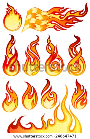 Fire flames icons collection in vector illustration (EPS10) - stock vector