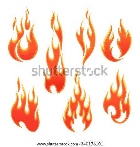 Fire flames of different shapes on white background - stock vector