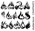 Fire flames, set icons, vector illustration - stock photo
