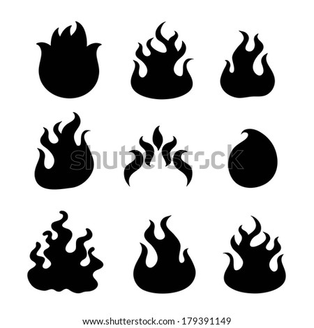 Fire flames, set icons, vector illustration - stock vector