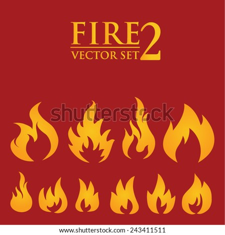 Fire flames, set  2 icons, vector illustration - stock vector