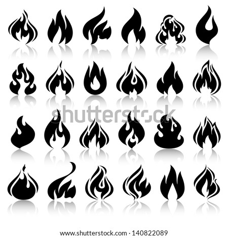 Fire flames, set icons with reflection, vector illustration - stock vector