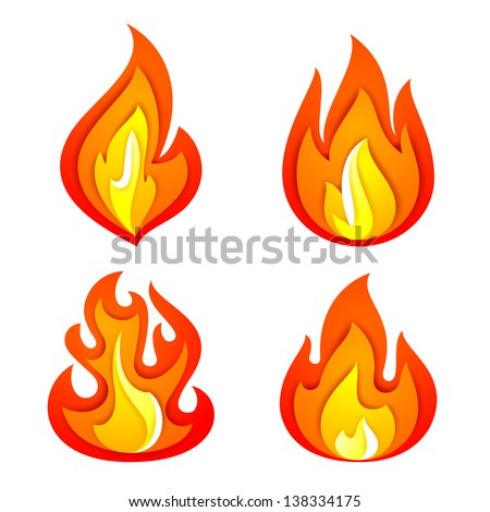 Fire flames set, isolated on white background. Vector illustration - stock vector