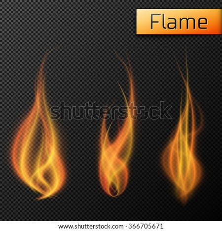 Fire flames vectors on transparent background - stock vector