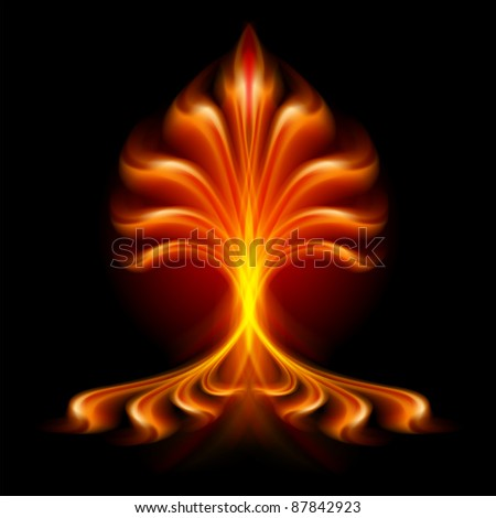 Fire flower. Illustration isolated over black background - stock vector