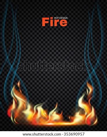 Fire Frame Flame Transparent Design Vector Stock Vector HD (Royalty ...