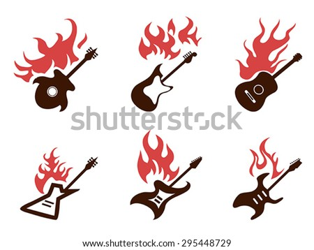 fire guitar icons set - stock vector