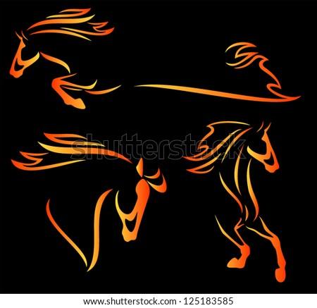 fire horse design elements - speeding stallions outlines - stock vector