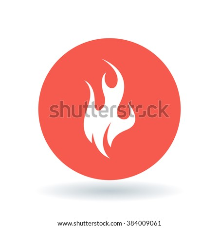 Fire icon. Flame sign. Flammable symbol. White fire icon on red circle background. Vector illustration. - stock vector