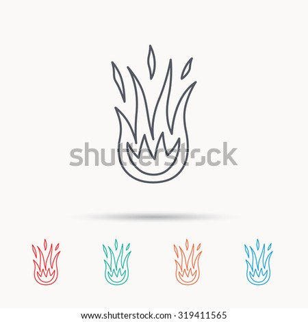 Fire icon. Hot flame sign. Linear icons on white background. Vector - stock vector