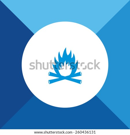 Fire Icon On Blue Background. Eps-10. - stock vector