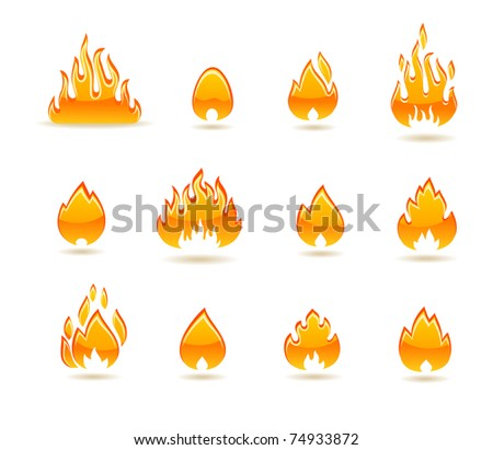fire icon set - stock vector
