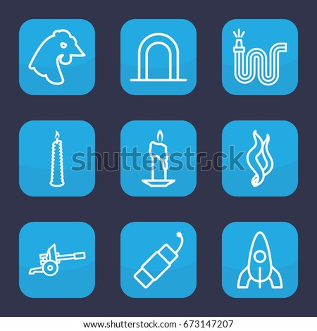 Fire Icon Set 9 Outline Icons Stock Vector 673147207 Shutterstock