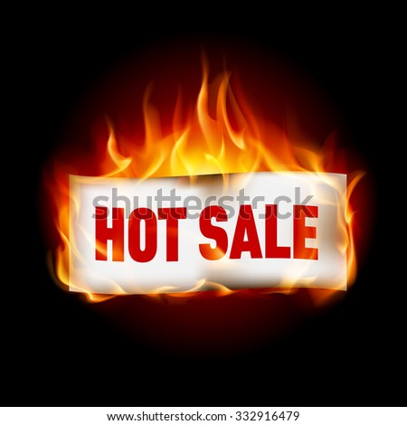 Fire label hot sale isolated on black - stock vector