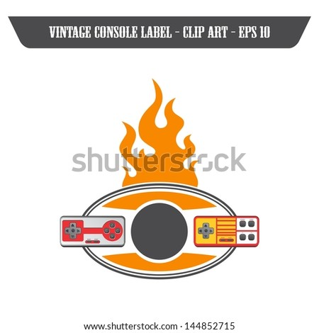 fire label with two consoles