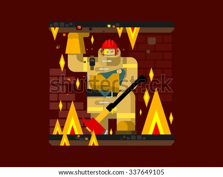 Fire man character with baby. Salvation and firefighter, flat vector illustration - stock vector