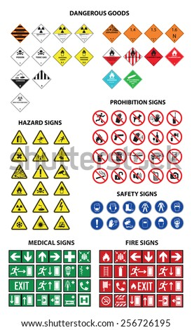Fire Medical Navigation Prohibition Hazard Safety Dangerous goods sign set - stock vector
