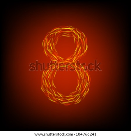 Fire number 8. Vector illustration - stock vector