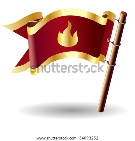 Fire or campfire icon on red and gold vector flag good for use on websites, in print, or on promotional materials
