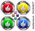 Fire or campfire icon on round colorful vector buttons suitable for use on websites, in print materials or in advertisements.  Set include red, yellow, green, and blue versions. - stock vector