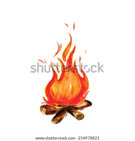 fire painted in watercolor style, vector illustration - stock vector