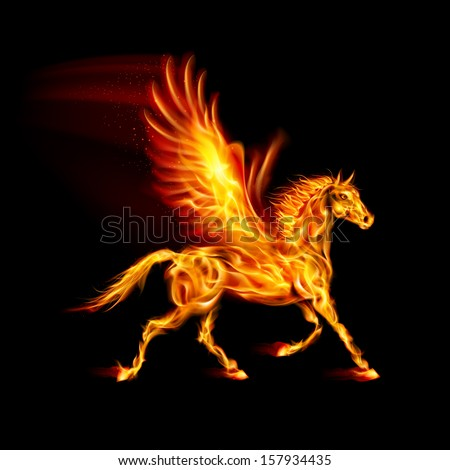 Fire Pegasus in motion on black background.