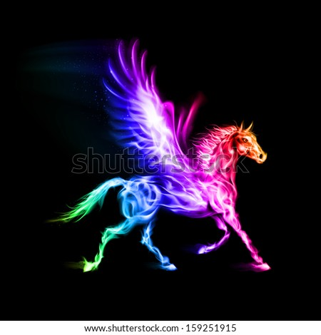 Fire Pegasus in spectrum colors on black background. - stock vector