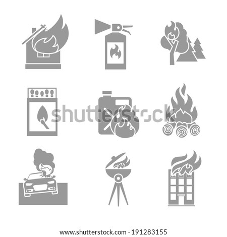 Fire protection black and white icons set of house forest car accidents isolated vector illustration - stock vector