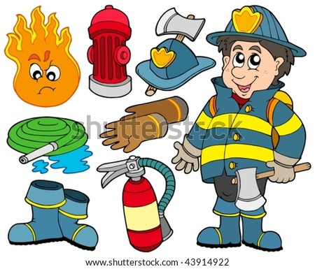 Fire protection collection - vector illustration. - stock vector