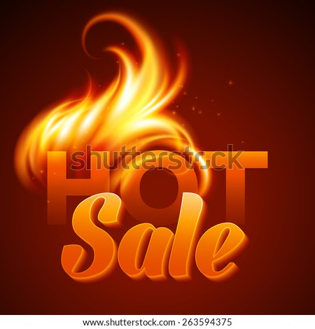 Fire realistic background. Hot sale. Vector illustration  - stock vector