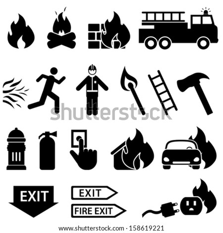 Fire related icon set in black - stock vector