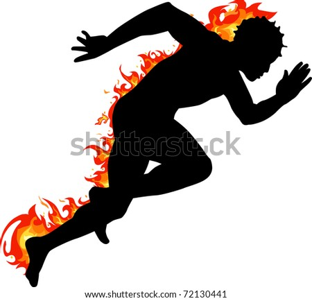 fire runner silhouette - stock vector