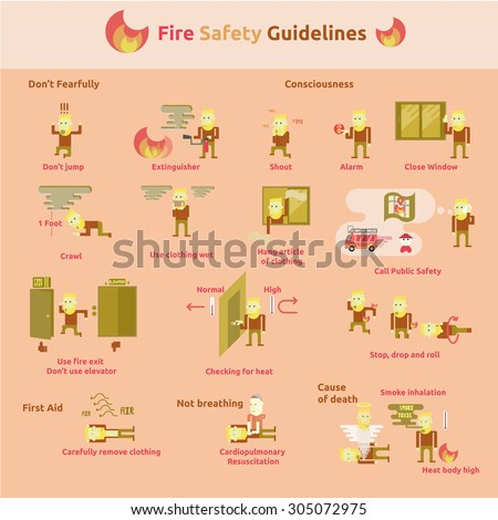 Fire Safety Guidelines.In Case of Fire Emergency Plan Stick - stock vector