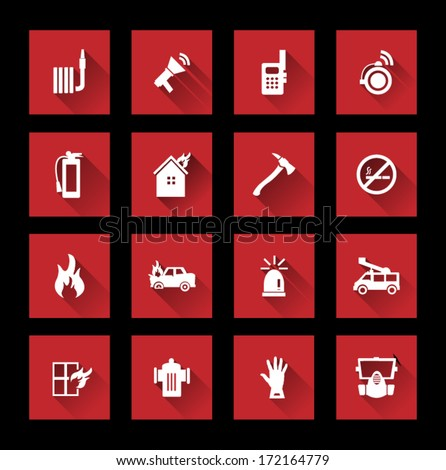 Fire services icons ( long Shadow )  - stock vector
